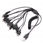 Retractable 10-in-1 USB Charging Cable for iPod / Motorola / Nokia / Samsung / LG / PSP + More