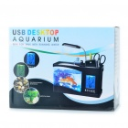 USB Powered Desktop Fish Tank Aquarium with 6-LED White Light & LCD Time Display