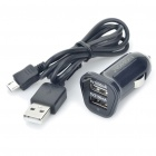 NOHON Car Cigarette Powered Dual USB Adapter/Charger with USB Cable - Black (DC 12~24V)