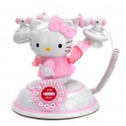 Cute Hello Kitty Angle Heart Style Round Dial Plate Telephone Set - White + Pink (3 x AAA)