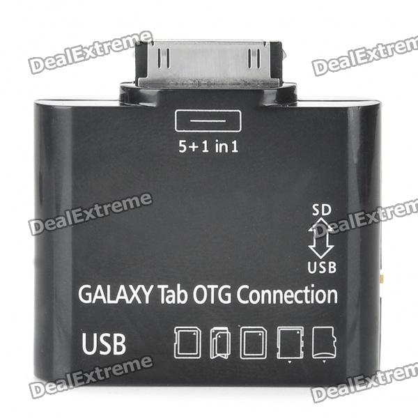 OTG-Anschluss-Set + Card Reader für Samsung Galaxy Tab. 10.1 P7510/P7500/P7300/P7310 - Black