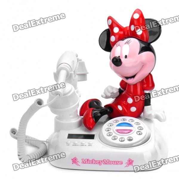 "Cute Minnie Mouse Style 1.8"" LED Round Dial Plate Telephone Set - White + Red + Black"