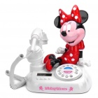 Cute Minnie Mouse Style 1.8&quot; LED Round Dial Plate Telephone Set - White + Red + Black