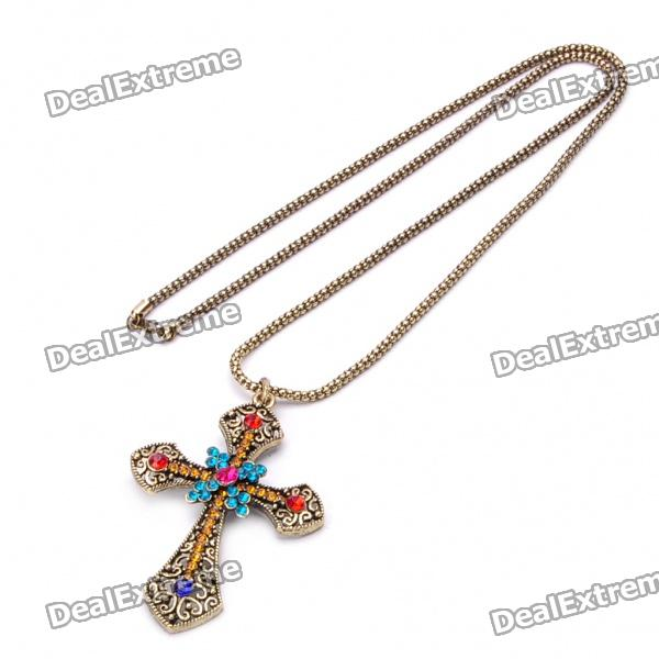 Multi-Colored Diamonds Cross Pendant Necklace - Copper от DX.com INT