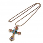 Multi-Colored Diamonds Cross Pendant Necklace - Copper