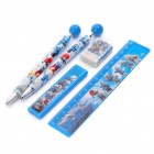 The Smurfs Style Stationery Set Mechanical Pencil + Pencil Lead + Ballpoint Pen + Ruler + Eraser