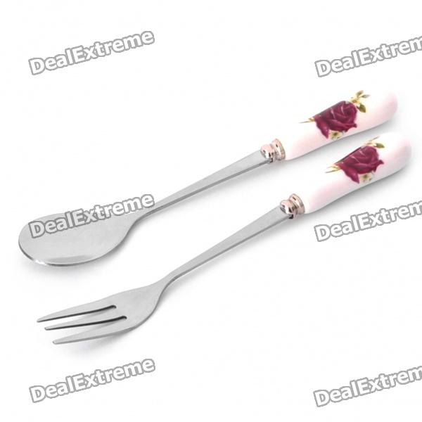 Elegant Ceramic Stainless Steel Spoon + Fork Set (Silver + White)