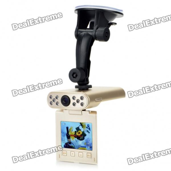 "720P CMOS Wide Angle Car DVR Camcorder w/ 10-LED IR Night Vision/AV-Out/SD - Golden (2.5"" LED)"