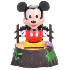 Cute Mickey Mouse Solar Powered Shaking and Swaying Desktop Toy - Black + Red