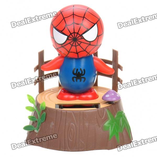 Cute Spider Man solarbetriebene Shaking und Swaying Desktop-Toy - Blau + Rot