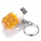 Beer Mug Style USB Flash/Jump Drive with Key Ring - Yellow + White (2GB)