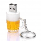 Beer Mug Style USB Flash/Jump Drive with Key Ring - Yellow + White (16GB)