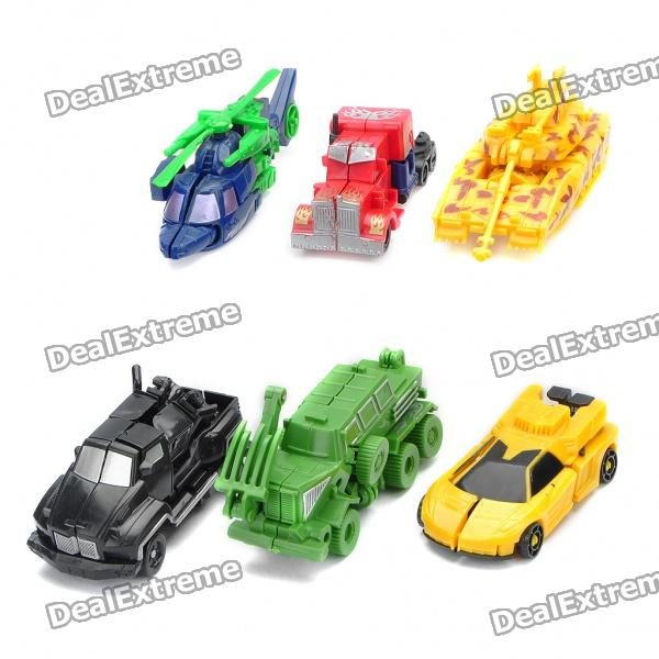 Transformable Tank + Car Assembly Toys Set - zufällige Farbe (6-teilig)