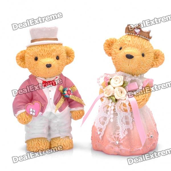 Cute Bear Couple Figure Resin Display Toy - Yellow + Pink + White (Pair)
