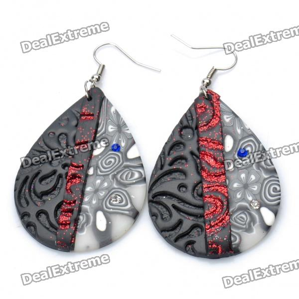 Stylish Oval Shaped Polymer Clay Earrings (Random Color / Pair)