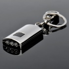 Solar Powered 3-LED White Flashlight Keychain - Silver
