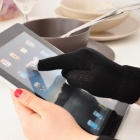 Capacitive Screen Touching Hand Warmer Gloves - Black (Pair)