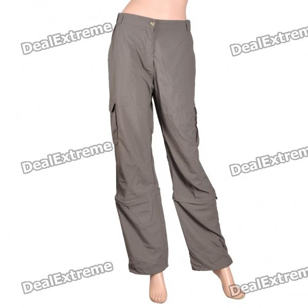 Women's Nylon Casual Sports Quick-Dry Zip Off Capri Pants - Taupe (Size-S)