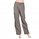 Women's Nylon Casual Sports Quick-Dry Zip Off Capri Pants - Taupe (Size-L)
