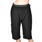 Women's Nylon Causal Sports Bermuda Shorts Crop Pants - Black (Size-M)