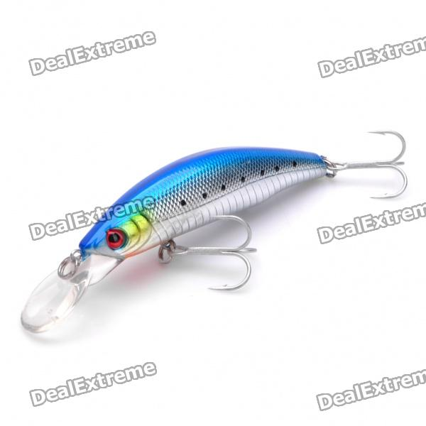 Lifelike Fish Style Fishing Bait with Treble Hooks - Blue + Silver