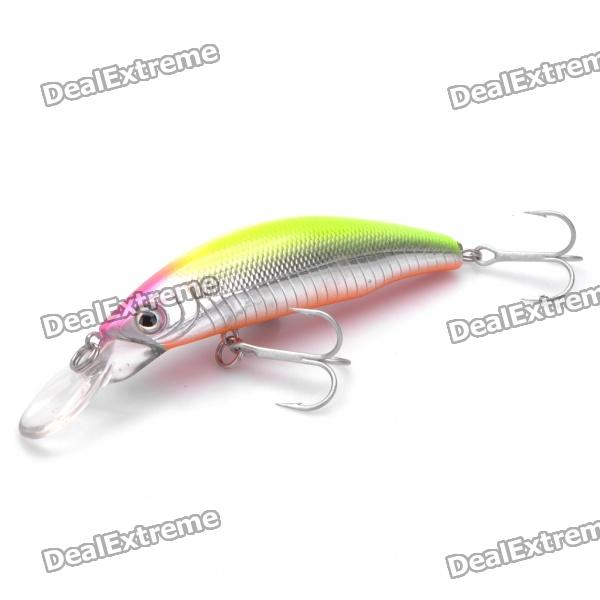Lifelike Fish Style Fishing Bait with Treble Hooks - Yellow + Pink + Silver