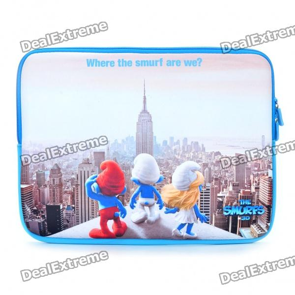 "Protective Smurfs Style Soft Bag with Dual-Zipped Close for 14"" Laptop Notebook - Blue + White + Red"