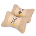 Cute Cartoon Snoopy Vehicle Car Seat Head Neck Rest Cushion Pillow - Off White (Pair)