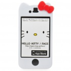 Cute Hello Kitty Style Protective Case for iPhone 4 - White + Red