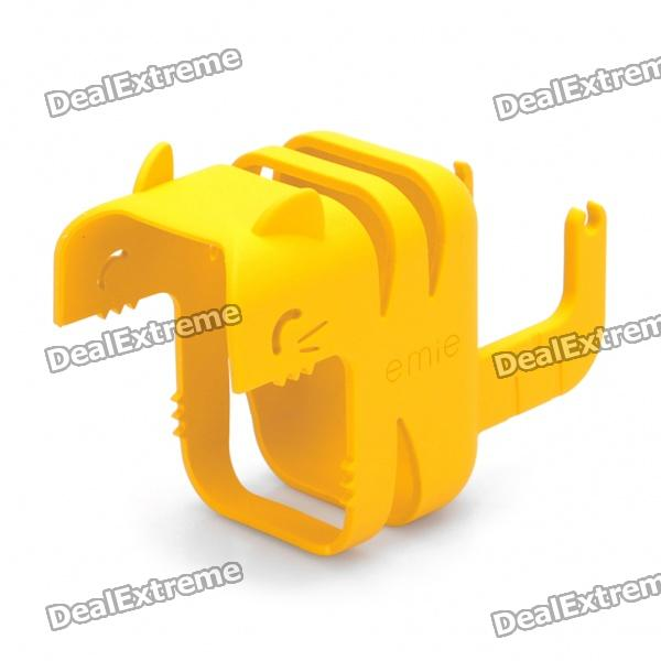Stylish Power Adapter Protective Case + Cable Winder + Holder for Iphone 4S - Yellow