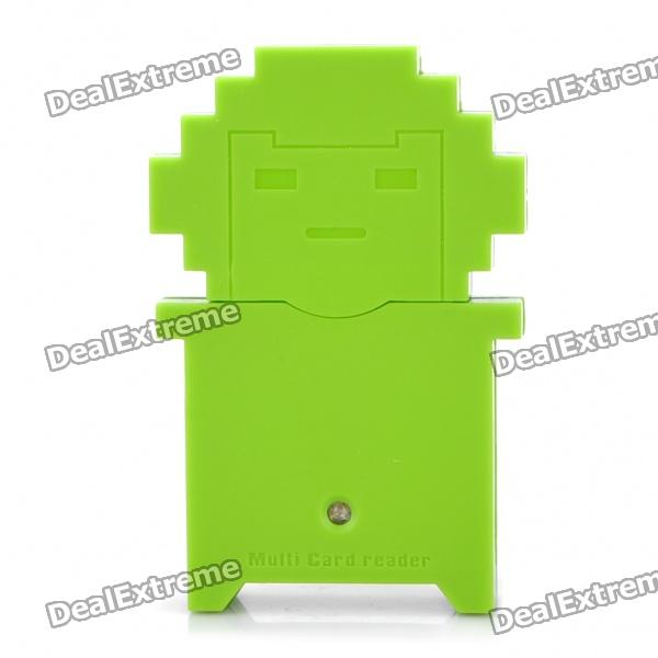 USB 2.0 Multi-in-One SD / MMC / RS-MMC / Mini SD/SDHC/MS/M2/TF Card Reader - Green