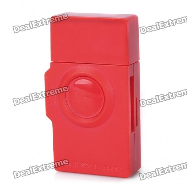 USB 2.0 Multi-in-One SD/MMC/RS-MMC/Mini SD/SDHC/MS/M2/TF Card Reader - Red