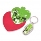 Heart Style Stainless Steel Mirror + 4-in-1 Multi-Tool Keychain Set - Green + Silver