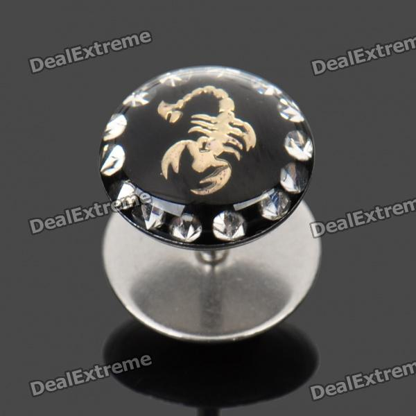 1.2mm 316L Surgical Steel Scorpion Pattern Ear Bar Stud - Silver + Black