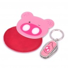Pink Pig Style Stainless Steel Mirror + 4-in-1 Multi-Tool Keychain Set - Pink + Silver