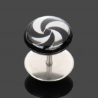 1.2mm 316L Surgical Steel Windwill Pattern Ear Bar Stud - Silver + Black