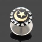 1.2mm 316L Surgical Steel Moon and Star Pattern Ear Bar Stud - Silver + Black