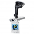 "720P CMOS Weitwinkel Auto DVR Camcorder w / 10-LED IR Nachtsicht / AV-Out / SD - Silber (2,5 ""LED)"
