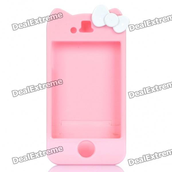 Hello Kitty Style Protective Hard Plastic Housing Case for iPhone 4 - Pink + White