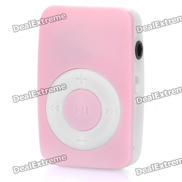Mini Bread Style Rechargeable Screen-Free MP3 Player w/ 3.5mm Audio Jack / TF Slot - Pink