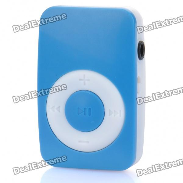 Mini Bread Style Rechargeable Screen-Free MP3 Player w/ 3.5mm Audio Jack / TF Slot - Blue