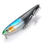 Lifelike Fish Style Fishing Bait with Treble Hooks - Black + Blue