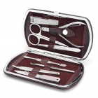 Personal Care Portable Stainless Steel Beauty Manicure Set w/ Leather Case (8-Piece Pack)
