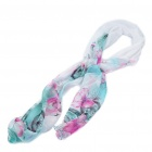 Fashion Soft Textile Printing Chiffon Shawl Scarf - Blue + Plum Red + White