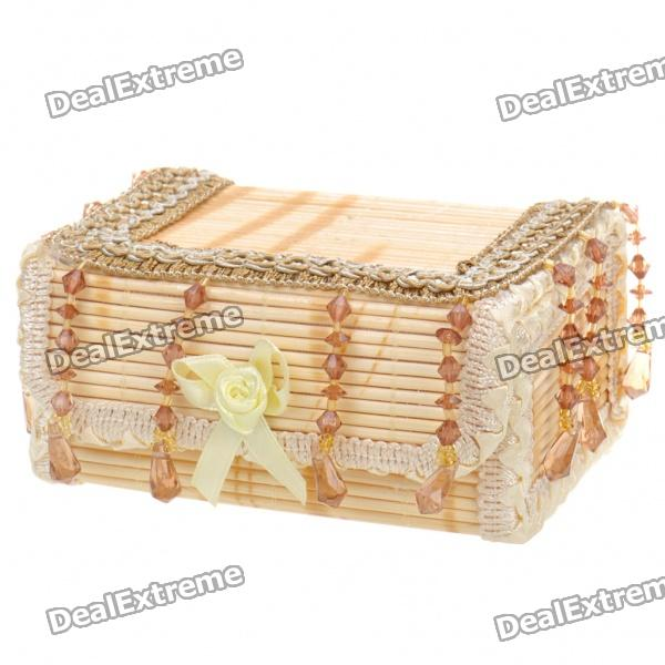 Mini Bamboo Box Case for Jewelry - Wood Color