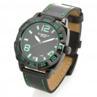 Fashionable PU + Stainless Steel Water Resistant Wrist Watch - Black + Green (1 x LR626)