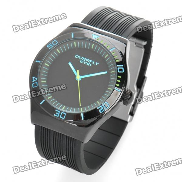 Fashionable Water Resistant PU + Stainless Steel Wrist Watch - Black + Blue (1 x LR626) fashion stainless steel red yellow led water resistant wrist watch black 2 x cr2016