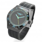 Fashionable Water Resistant PU + Stainless Steel Wrist Watch - Black + Blue (1 x LR626)