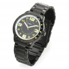 Fashionable Water Resistant Glow-in-dark Wrist Watch - Black + Yellow (1 x LR626)