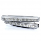 9W 8-LED White Light Daytime Running Lights for Car (Pair / DC 12V)